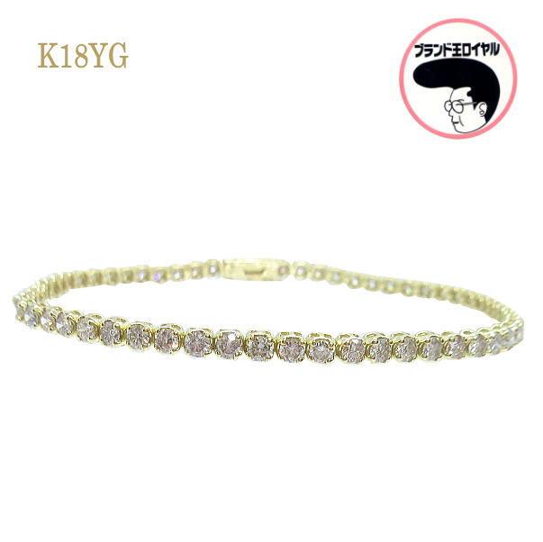 驚きの値段 豪華3ct 卸売り 大人気のテニスブレス K18YG テニスブレス 3ct ダイヤブレスレット イエローゴールド