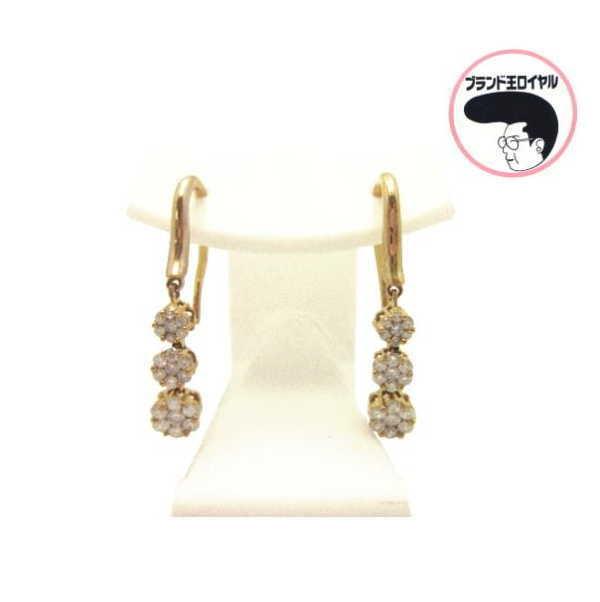 人気の3連ピアス 揺れるダイヤモンドが素敵 K18YGダイヤピアス フック型 イエローゴールド ダイヤ3石 数量は多 メーカー再生品 スウィング ダイヤ