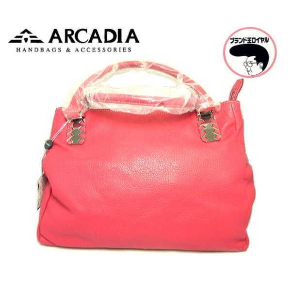 ARCADIA アルカディア イタリア製 ハンドバッグ レザー レッド 赤