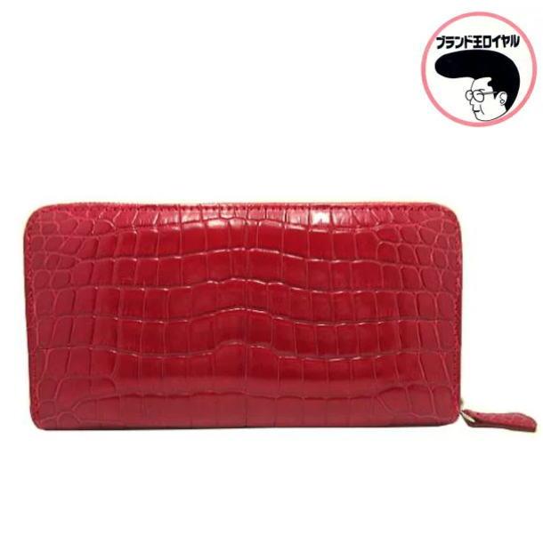 高級クロコダイル財布 赤 ラウンドファスナー