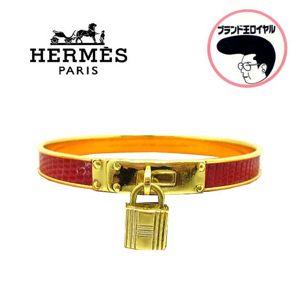 HERMES エルメス ケリーブレス 赤×ゴールド バングル ブレスレット レザー【中古】
