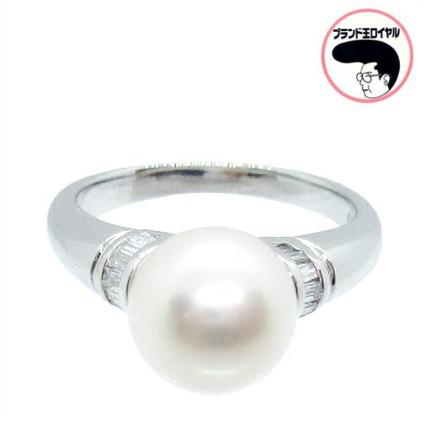 気品あふれるパールリング パールリング メイルオーダー プラチナ 真珠 送料無料お手入れ要らず ダイヤモンド0.14ct