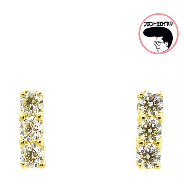 ダイヤモンドの輝きが美しいです ダイヤモンドピアス HC 豊富な品 ハート キューピッド 0.46ct イエローゴールド k18YG レディース 訳あり商品 ダイヤモンド