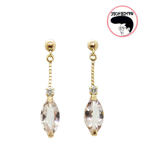 大規模セール クリアなピンクが可愛い プレゼント包装無料 モルガナイトピアス 即納 ダイヤモンド ぶら下がり K18PG モルガナイト0.8ct ジュエリー ピンクゴールド ダイヤ0.04ct 3月の誕生石
