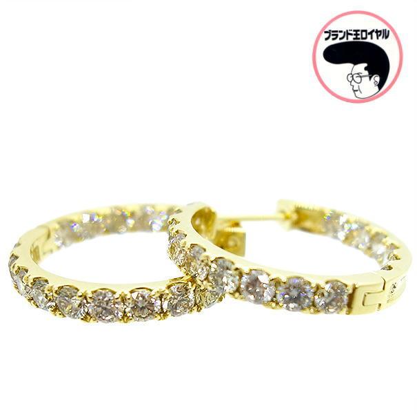 裏面にもダイヤモンドが輝く贅沢なフープピアス フープピアス ダイヤモンドピアス エタニティ K18YG ピアス ゴージャス 1ct×2 イエローゴールド チープ ダイヤ NEW売り切れる前に☆