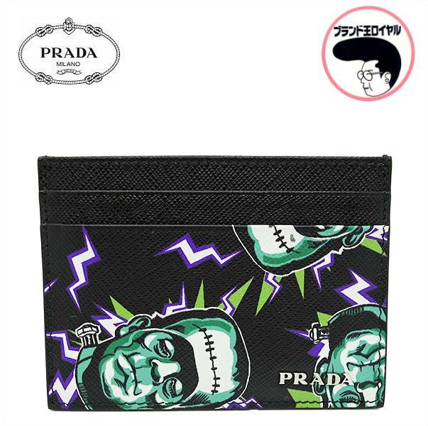 フランケンが可愛いカードケース 人気のプラダ 中古 未使用品 定価 PRADA プラダ ブラック レザー カードケース 2MC149 特価キャンペーン フランケン SAFFIANO