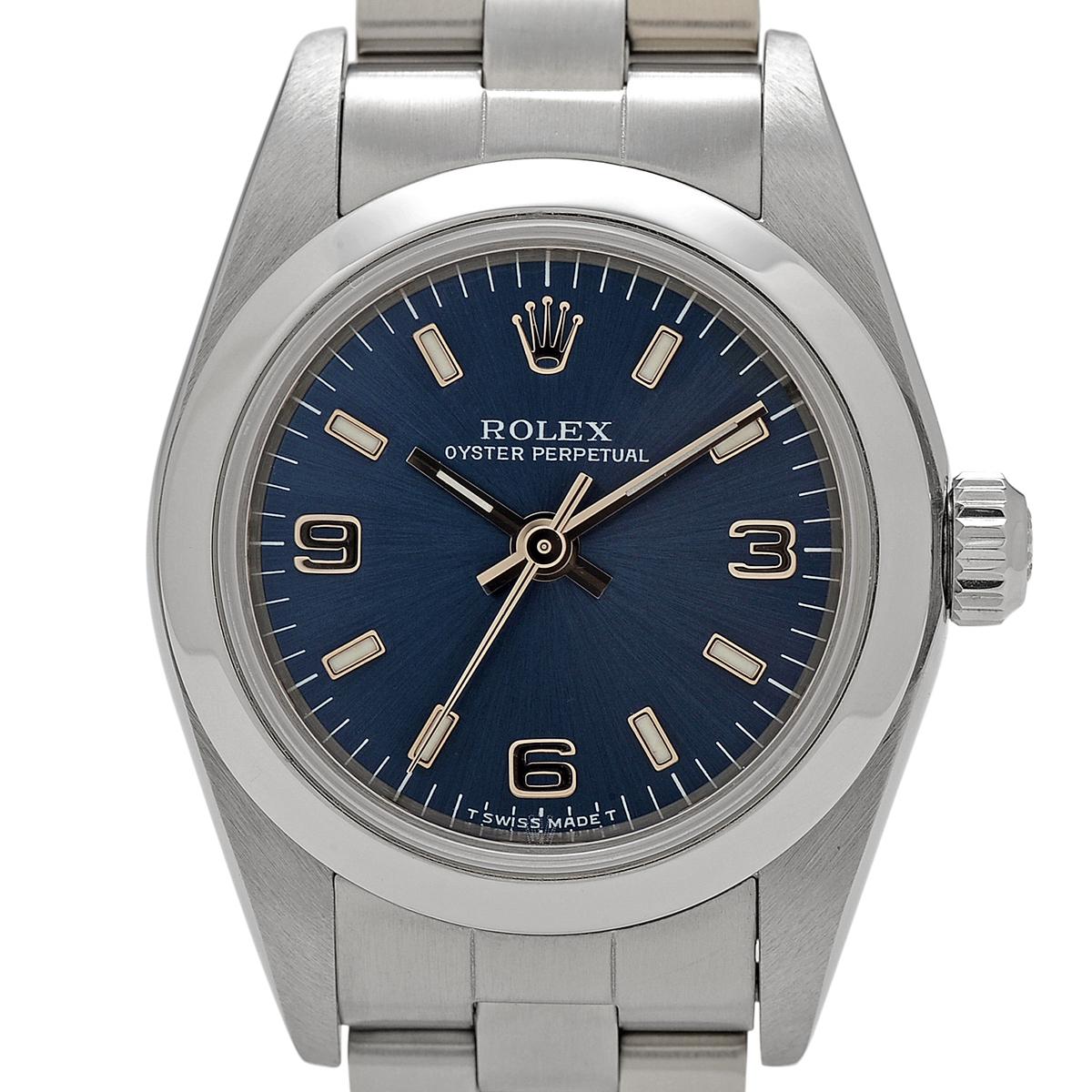 ロレックス ROLEX オイスターパーペチュアル 76080 腕時計 SS 自動巻き ブルー レディース 【中古】
