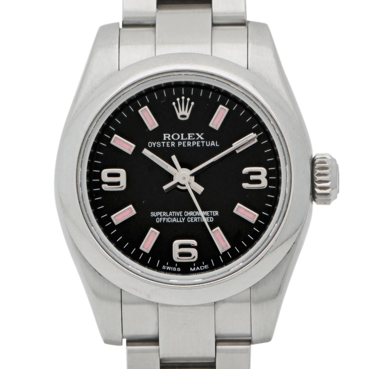ロレックス ROLEX オイスター パーペチュアル 176200 腕時計 SS 自動巻き ブラック レディース 【中古】