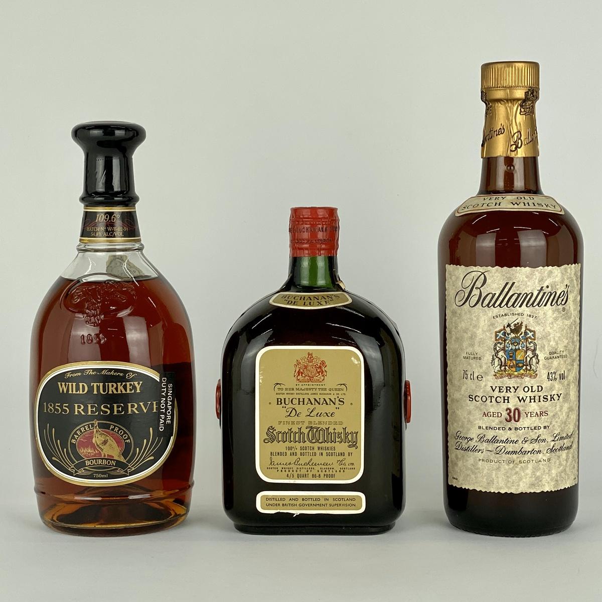 バランタイン ワイルドターキー ブキャナン 3本 ウイスキー セット 【古酒】