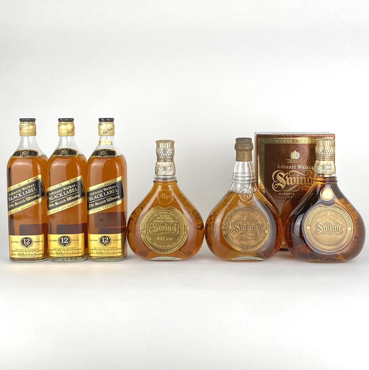 ジョニーウォーカー JOHNNIE WALKER ブラックラベル スウィング 6本セット 750ml ウイスキー セット 【古酒】