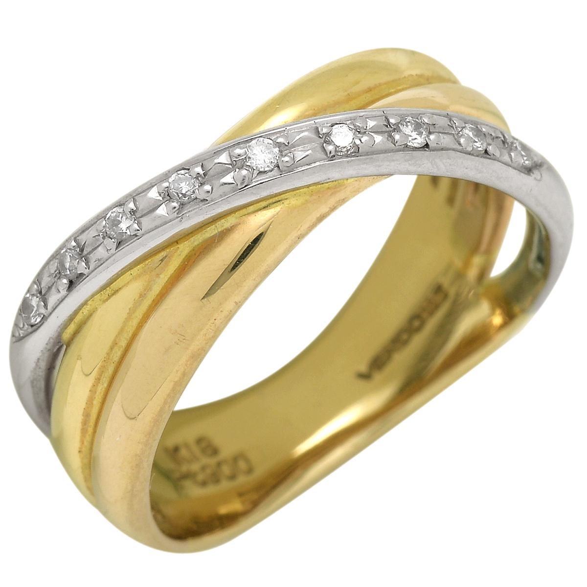 メレダイヤ デザインリング 指輪 Pt900 K18 プラチナ イエローゴールド Pt YG ダイヤ レディース 【中古】