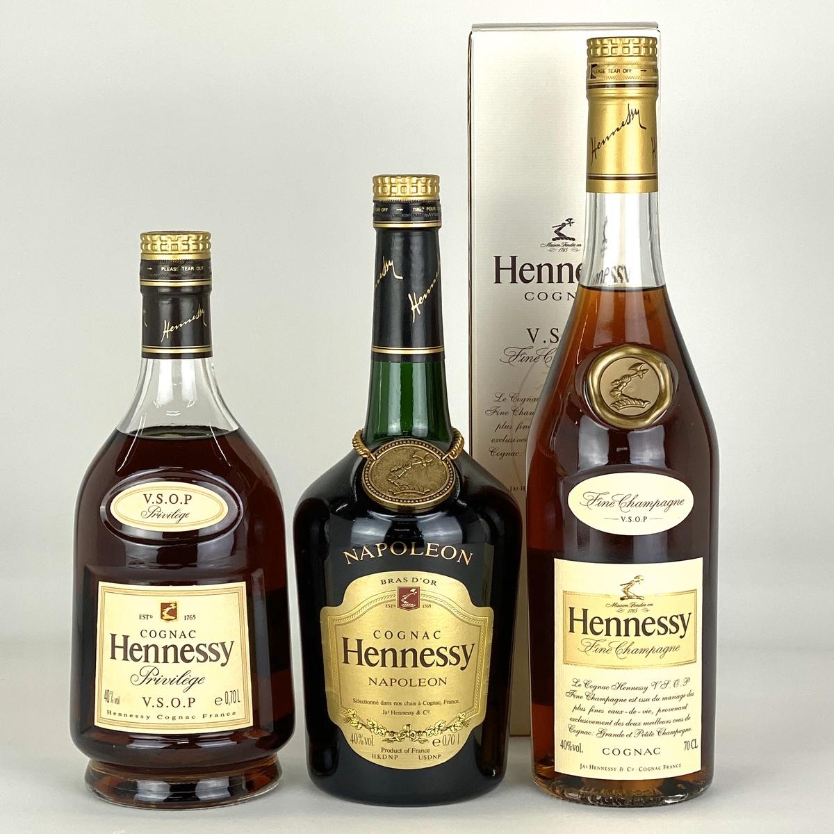 ヘネシー Hennessy ナポレオン VSOP スリムボトル クリアボトル 3本 コニャック ブランデー セット 【古酒】