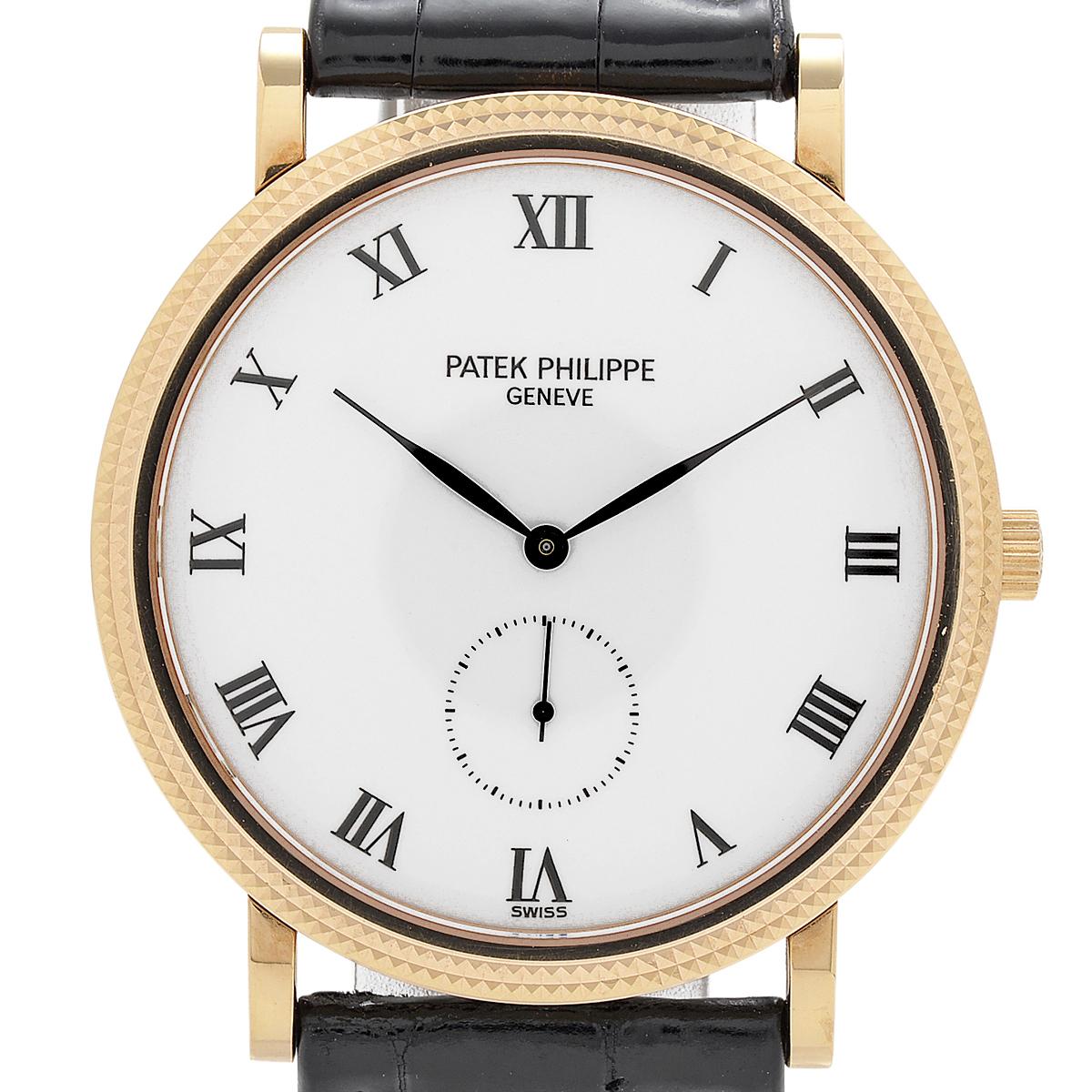 パテックフィリップ PATEK PHILIPPE カラトラバ 3919R-001 腕時計 PG レザー 手巻き ホワイト メンズ 【中古】