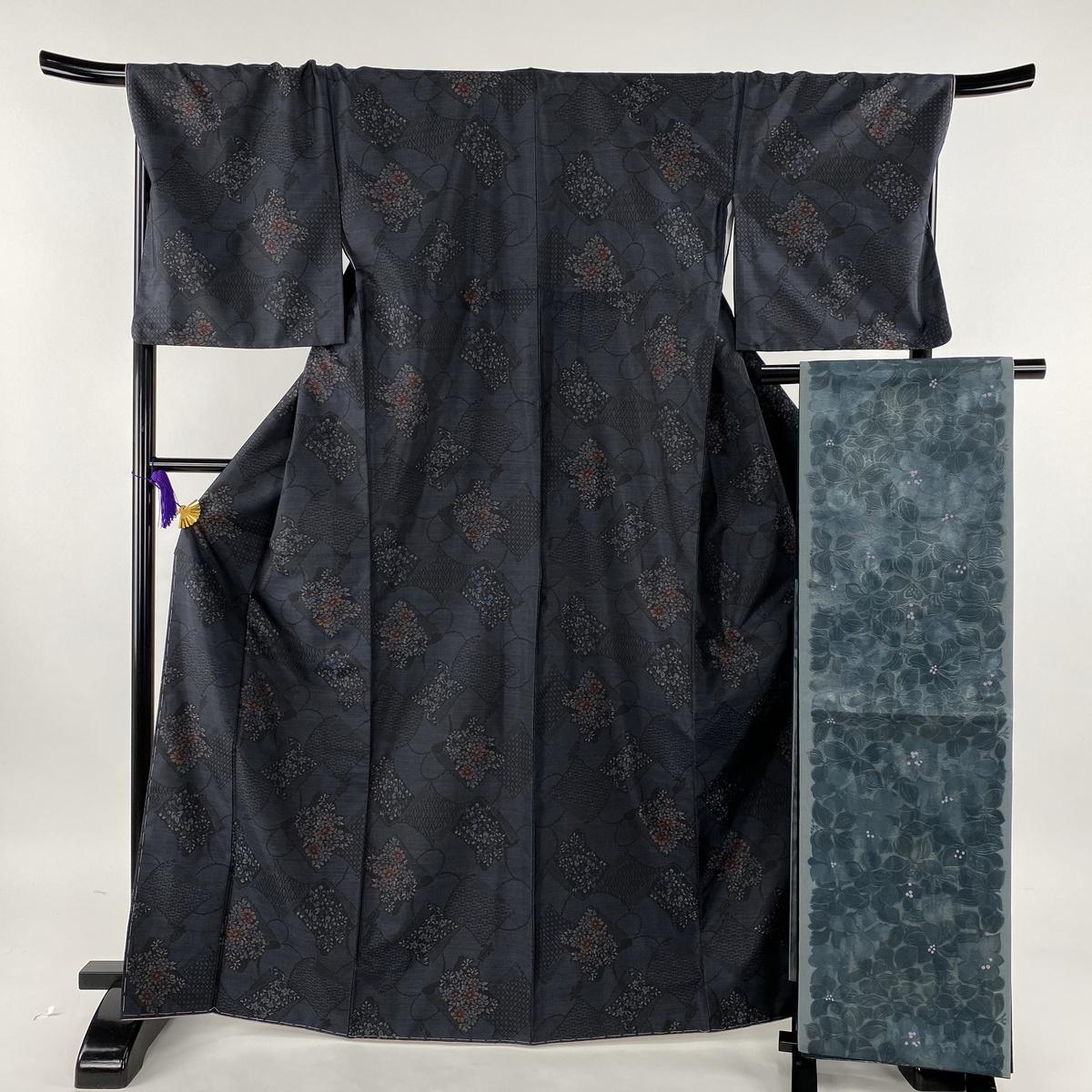 大島紬 美品 秀品 証紙あり 袋帯セット 草花 有職文様 藍色 袷 身丈168cm 裄丈70.5cm L 正絹 【中古】