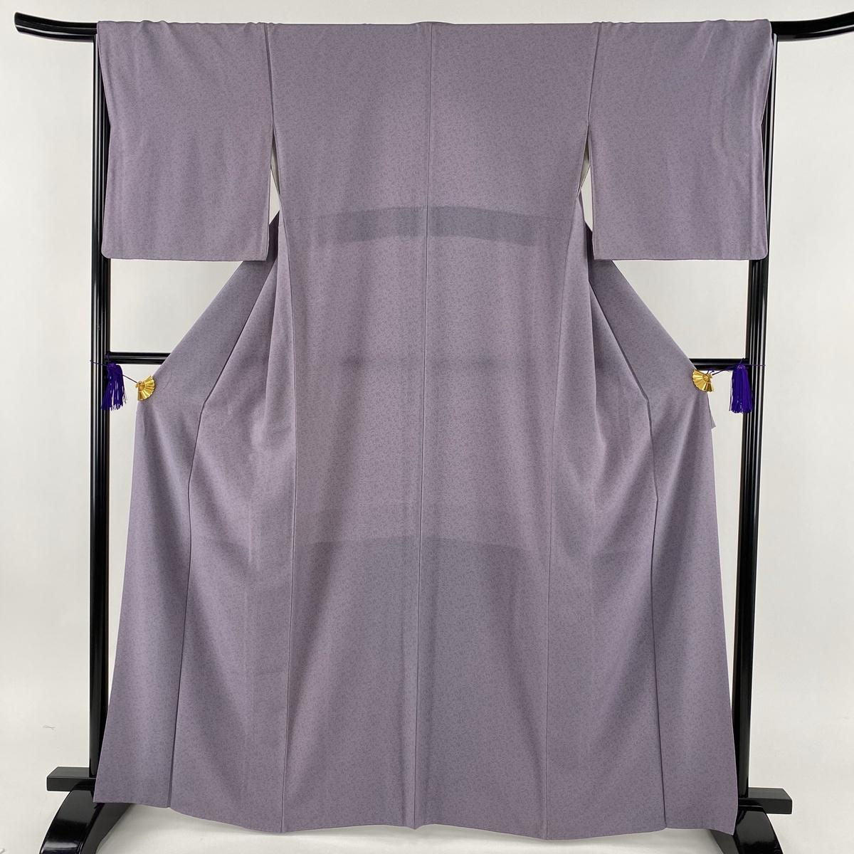 江戸小紋 美品 秀品 笹蔓 薄紫 袷 身丈165cm 裄丈67cm M 正絹 【中古】