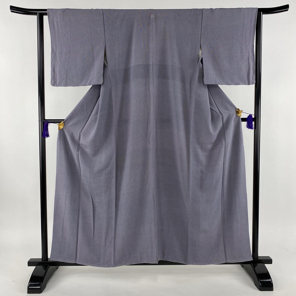 江戸小紋 美品 名品 落款あり 一つ紋 砂川健一 市松 行儀と通し 紫 袷 身丈156cm 裄丈62.5cm S 正絹 【中古】