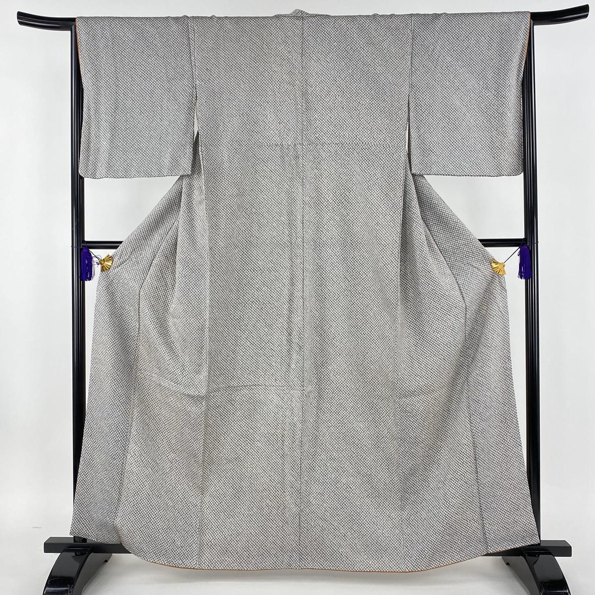 小紋 美品 秀品 総絞り 灰色 袷 身丈162cm 裄丈66cm M 正絹 【中古】
