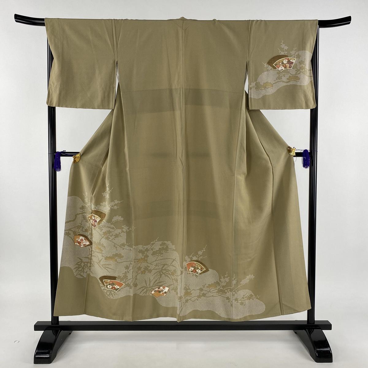 訪問着 秀品 扇面 松竹梅 金彩 茶緑色 袷 身丈153.5cm 裄丈66.5cm M 正絹 【中古】
