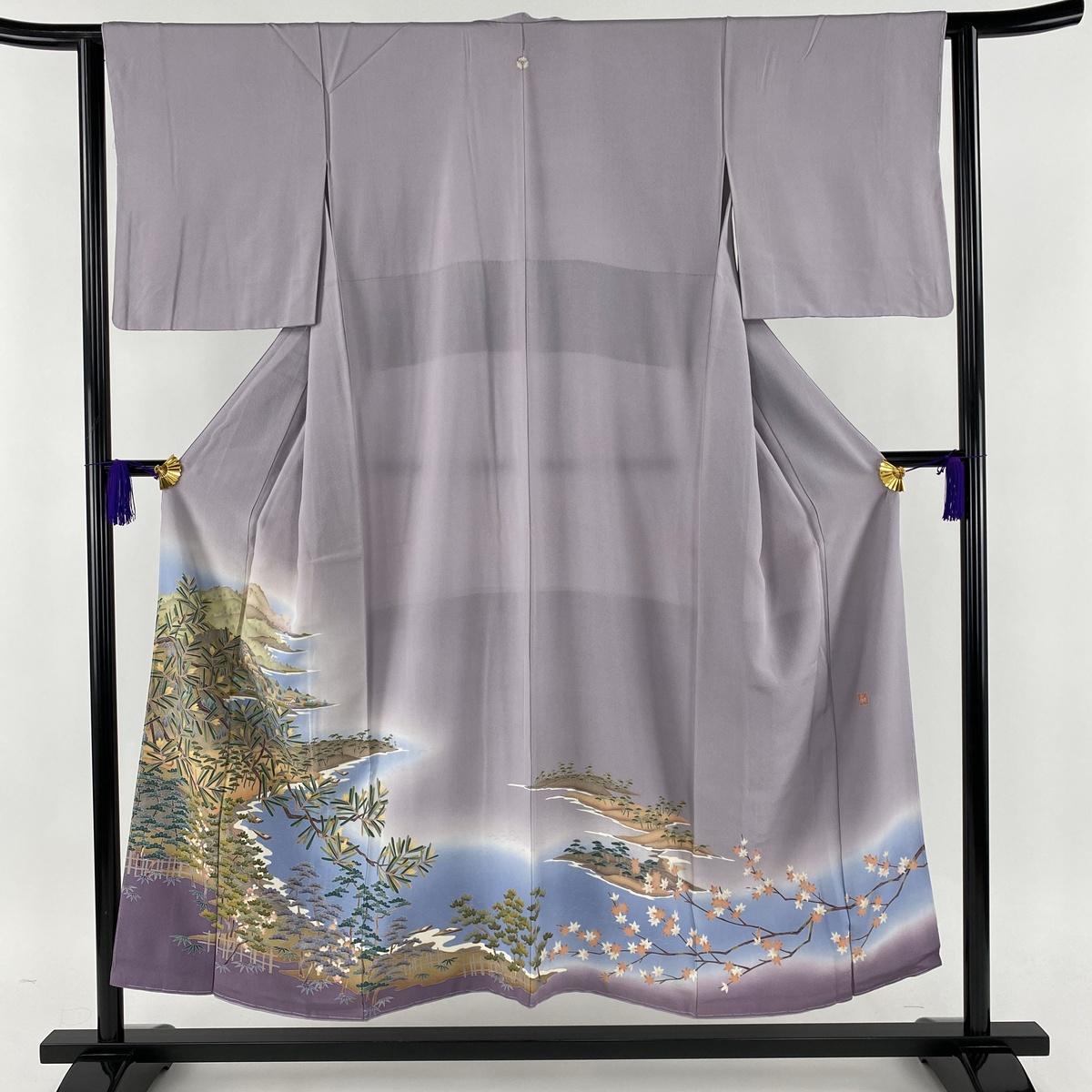 色留袖 美品 秀品 落款あり 一つ紋 海辺の風景 松 縮緬 薄紫 袷 身丈152.5cm 裄丈63cm S 正絹 【中古】