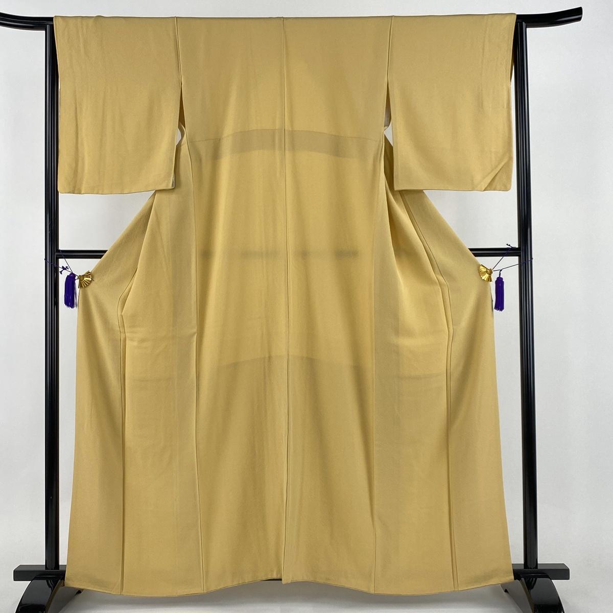 色無地 美品 秀品 黄色 袷 身丈159cm 裄丈65cm M 正絹 【中古】