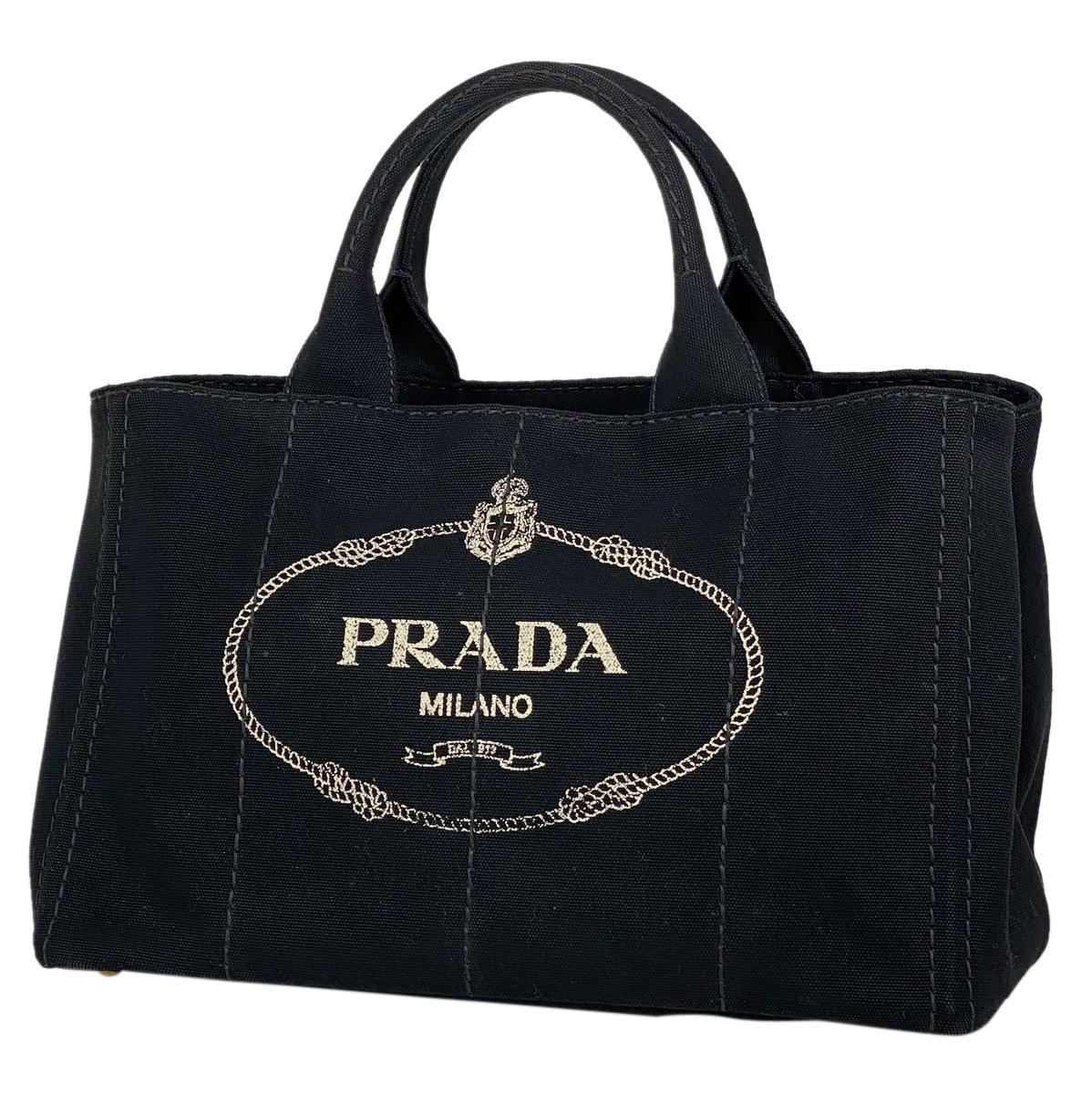 プラダ PRADA カナパトート ハンドバッグ トートバッグ キャンバス ネロ(ブラック) 1BG642 レディース 【中古】