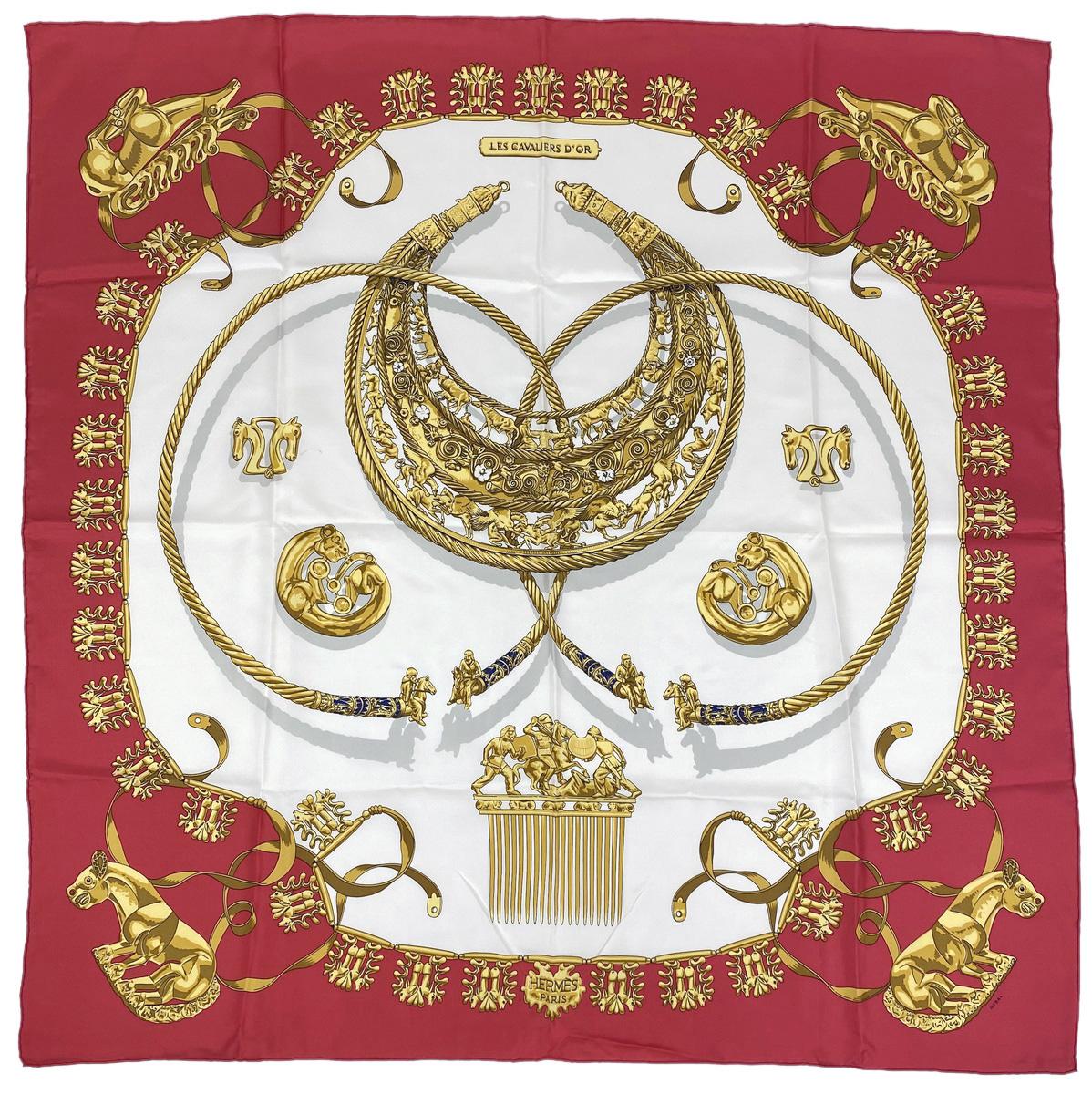 エルメス HERMES カレ 90 LES CAVALIERS D'OR 黄金の騎士 スカーフ シルク レッド ホワイト マルチカラー レディース 【中古】