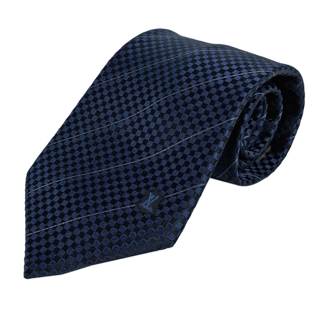 ルイ・ヴィトン Louis Vuitton ネクタイ ダイヤ柄 紳士 ビジネス ネクタイ シルク ネイビー ブラック メンズ 【中古】