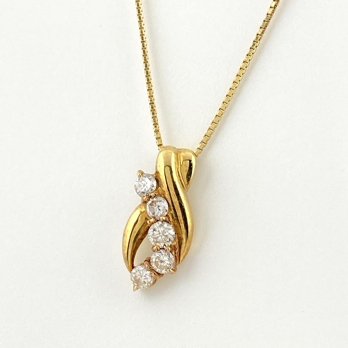 USED 当店は最高な サービスを提供します 送料無料 メレダイヤ デザインネックレス K18 イエローゴールド ダイヤモンド YG ペンダント ネックレス 価格 交渉 中古 レディース