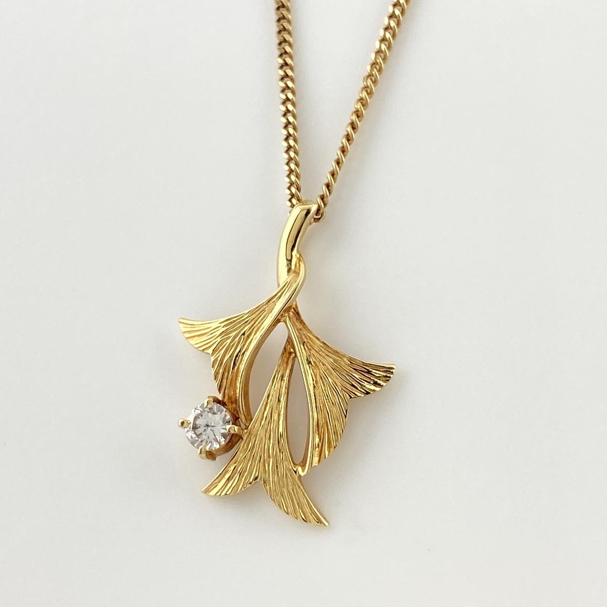 USED 送料無料 メレダイヤ 値引き 有名な デザイン ネックレス K18 YG 中古 イエローゴールド ダイヤモンド レディース ペンダント