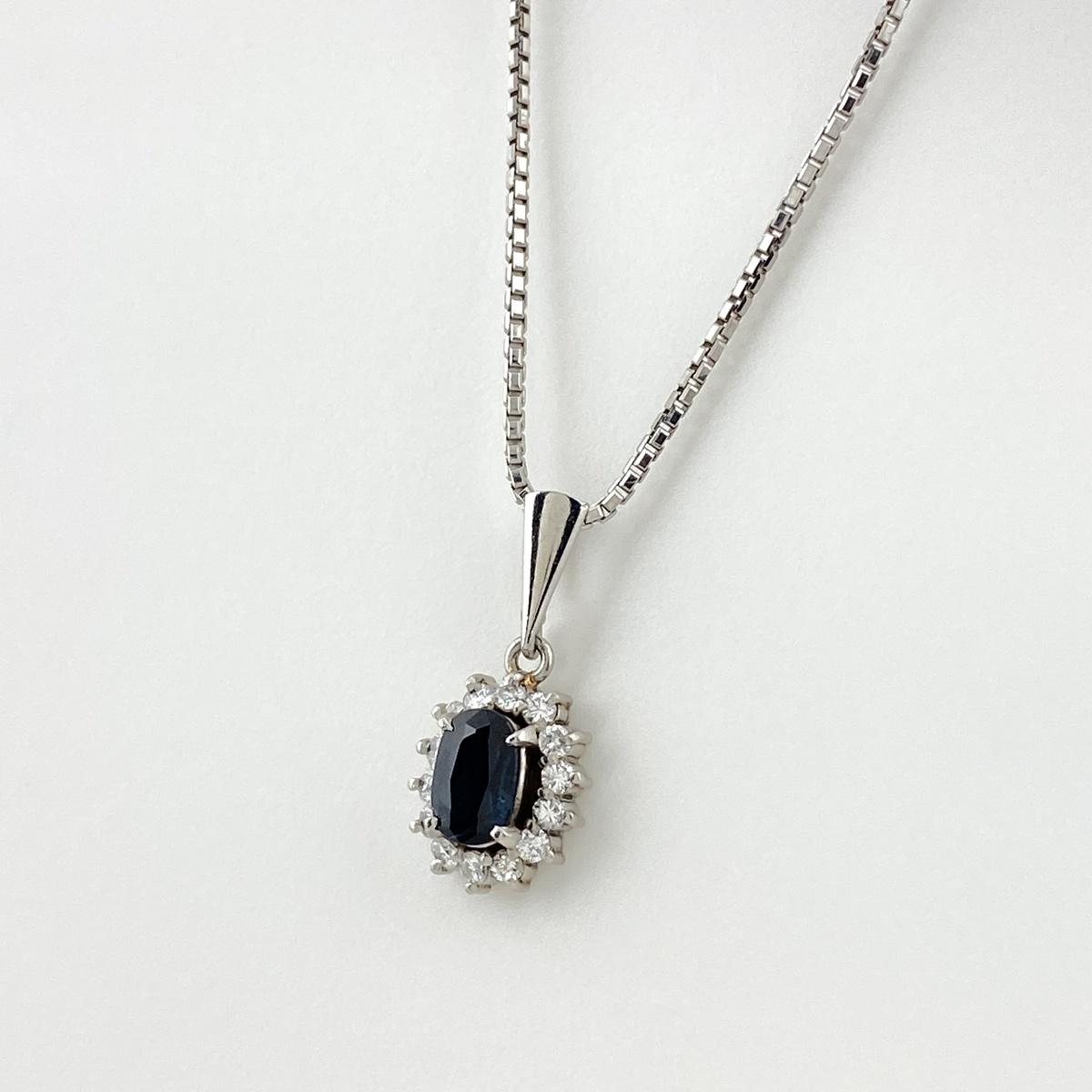 USED 送料無料 激安通販専門店 激安通販ショッピング サファイア デザインネックレス プラチナ メレダイヤ Pt900 中古 ペンダント ダイヤモンド レディース ネックレス