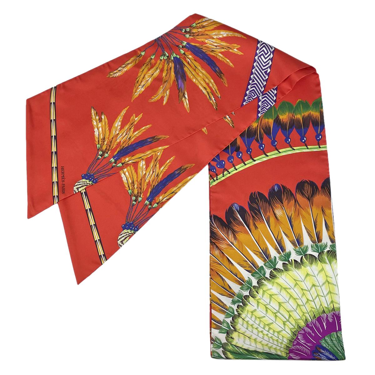 新色 USED 送料無料 エルメス HERMES 毎日続々入荷 ツイリー 羽根柄 ブラジル レッド フェザー マルチカラー スカーフ 中古 シルク レディース