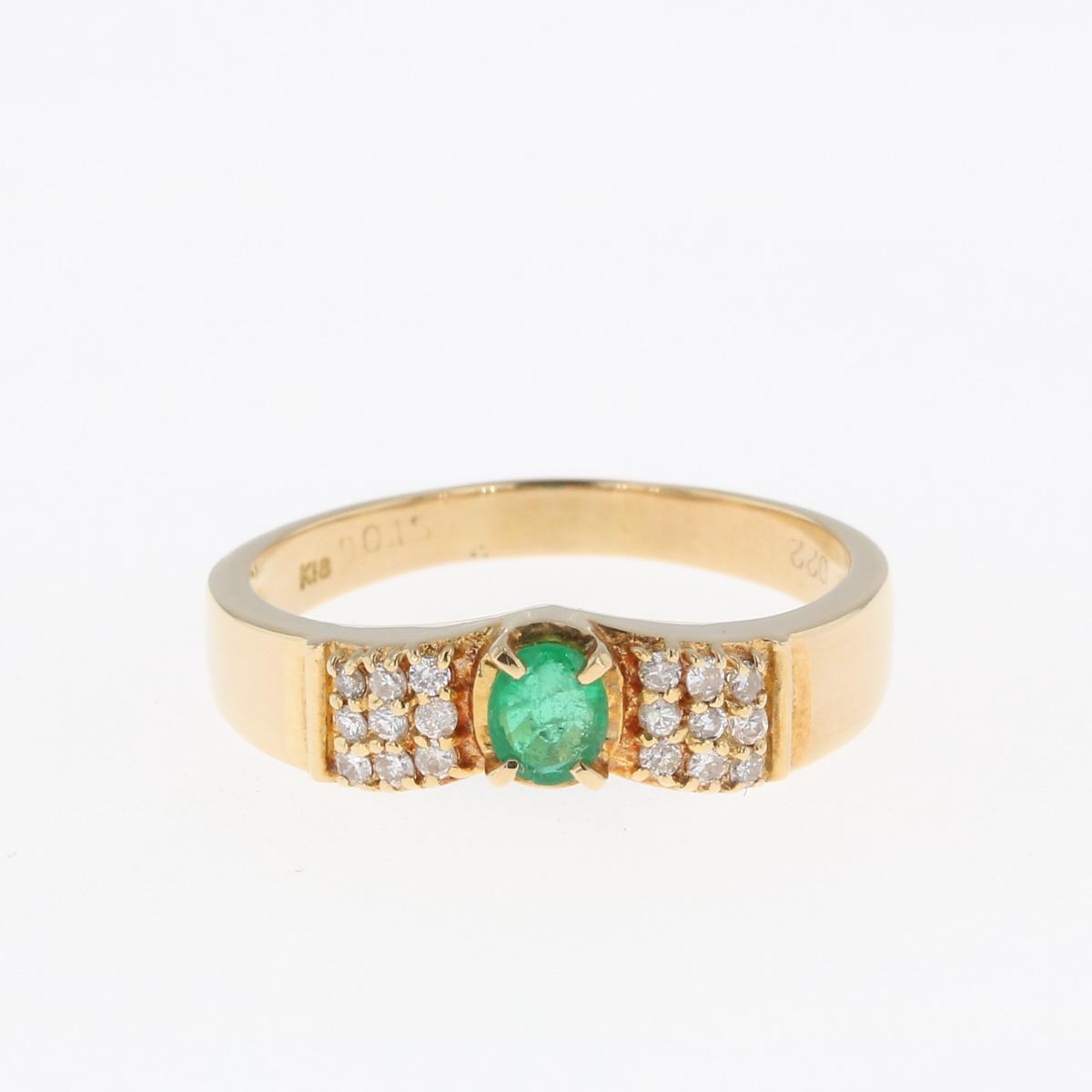 USED 送料無料 特売 エメラルド デザインリング K18 イエローゴールド メレダイヤ 予約販売品 中古 リング 指輪 ダイヤモンド レディース 15号 YG