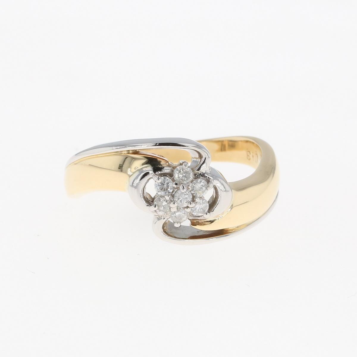 USED 送料無料 メレダイヤ デザインリング K18 イエローゴールド プラチナ 指輪 YG セール特価 10号 Pt850 中古 レディース 国産品 リング ダイヤモンド
