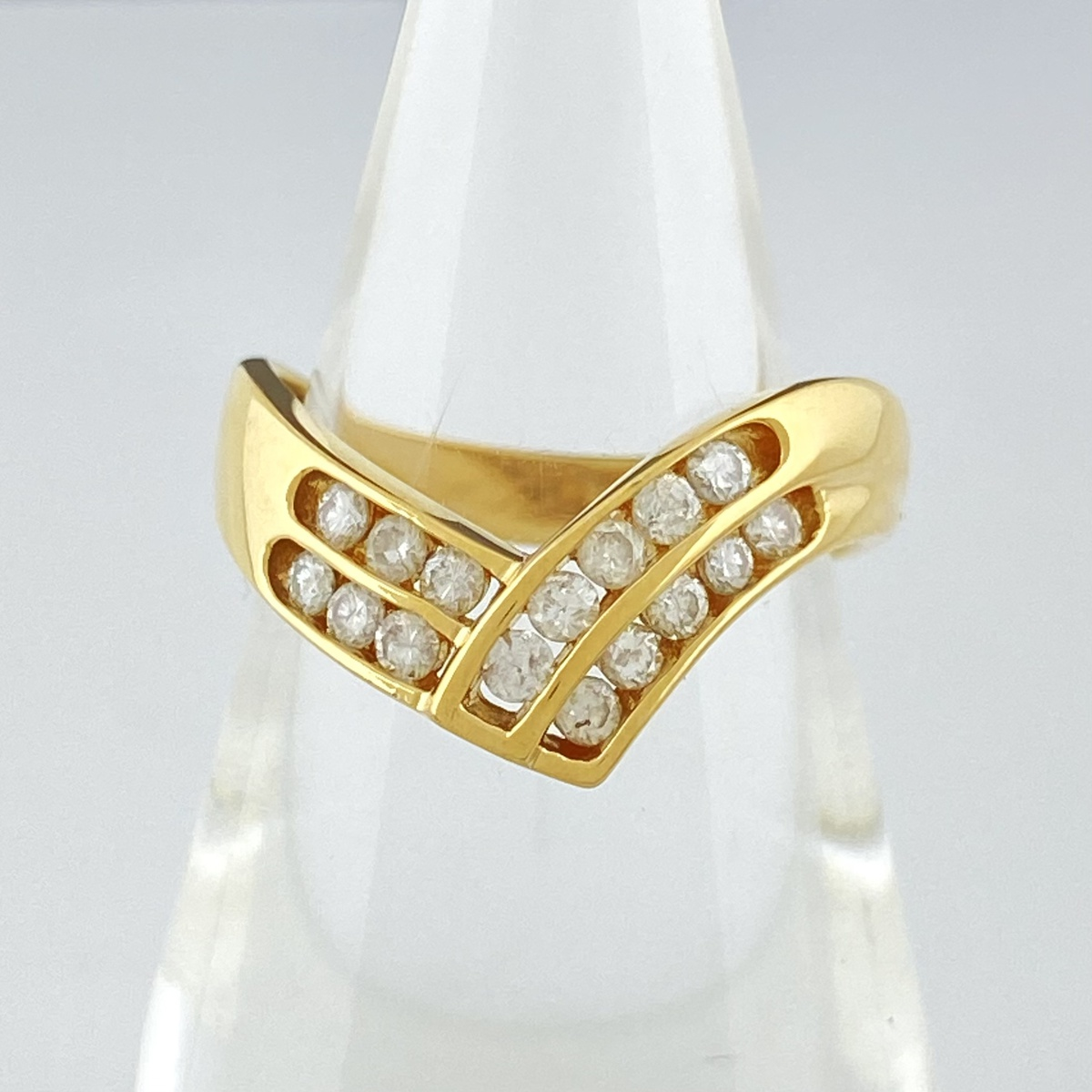 USED 送料無料 メレダイヤ 予約販売品 デザインリング K18 全品送料無料 イエローゴールド 指輪 ダイヤモンド YG 9.5号 レディース 中古 リング