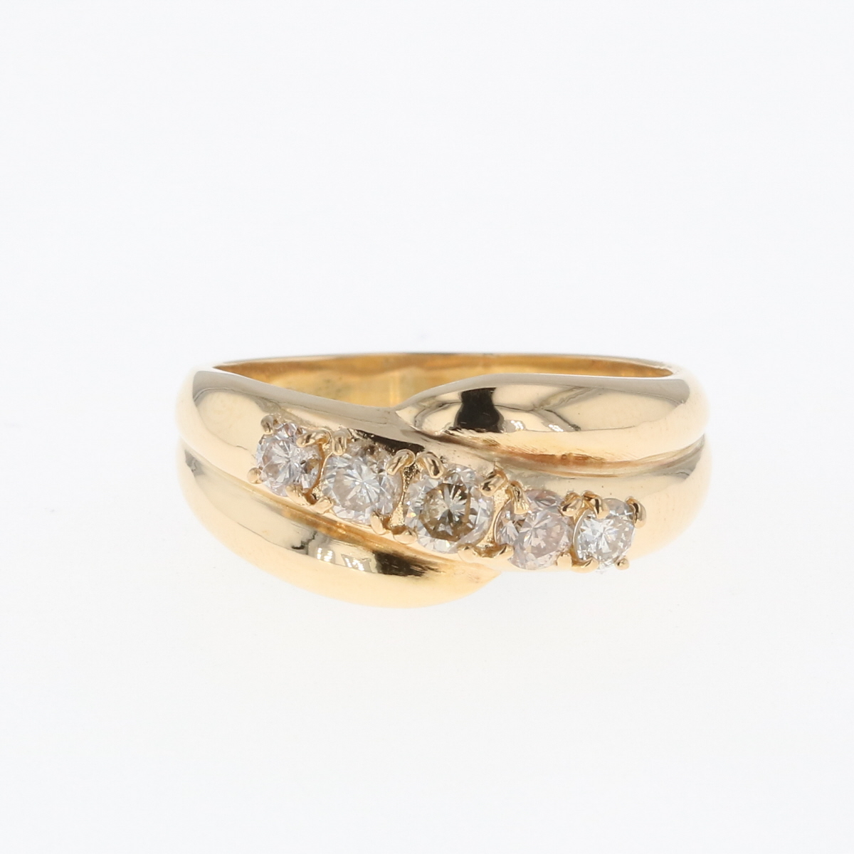 USED 卓抜 送料無料 賜物 メレダイヤ デザインリング K18 イエローゴールド 指輪 リング レディース 中古 ダイヤモンド YG 11号
