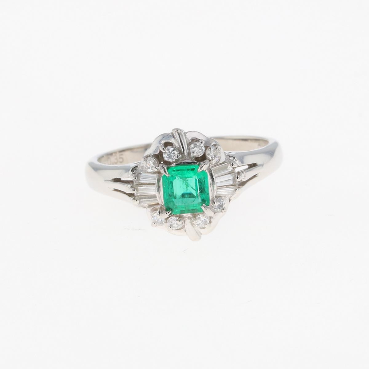 USED 送料無料 エメラルド デザイン リング 激安 年間定番 激安特価 プラチナ メレダイヤ 指輪 Pt900 ダイヤモンド 中古 14号 レディース