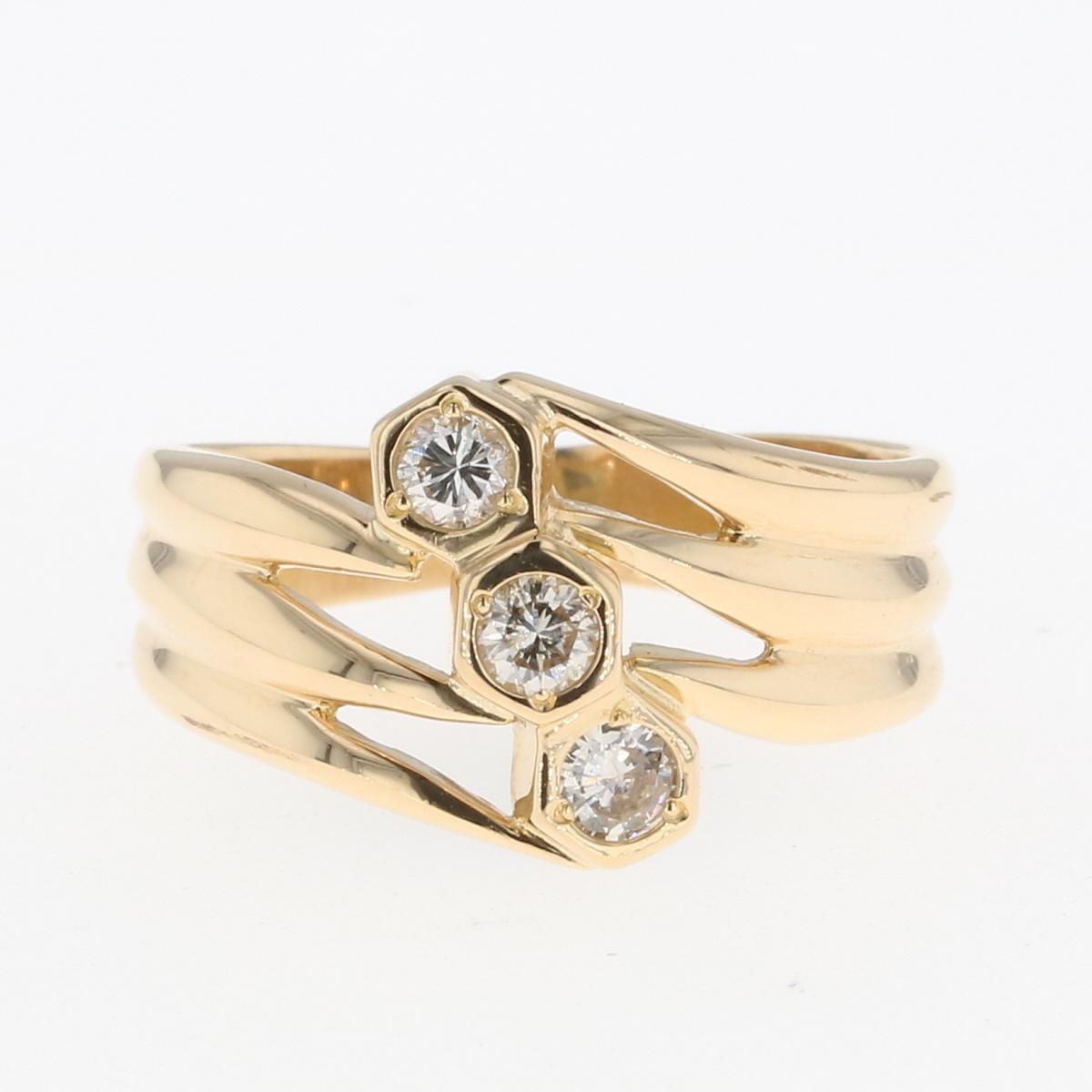 USED 送料無料 メレダイヤ デザインリング K18 イエローゴールド 指輪 ダイヤモンド レディース 8号 中古 店内限界値引き中 セルフラッピング無料 YG リング ランキングTOP10