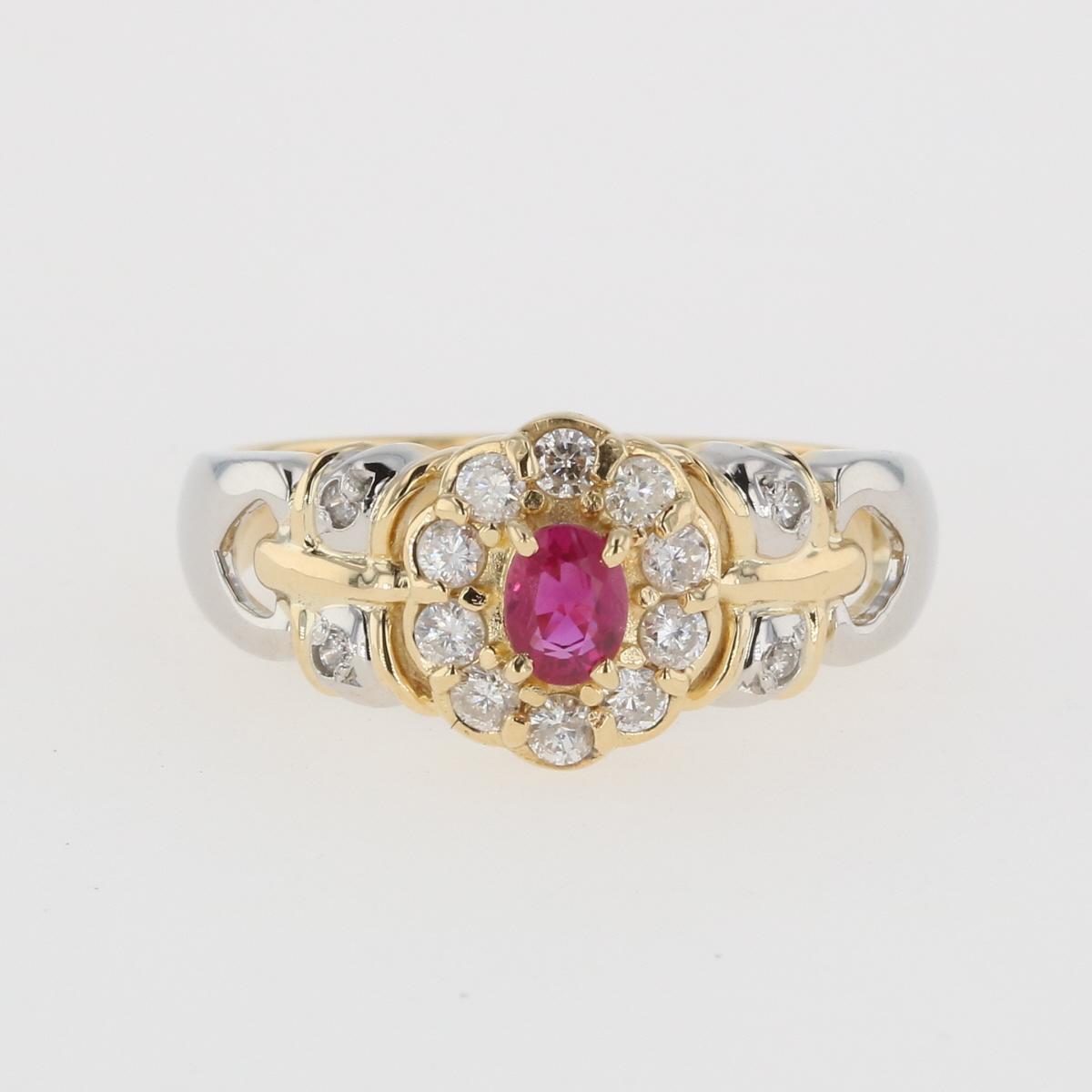 激安通販販売 USED 送料無料 ルビー デザインリング K18 イエローゴールド 指輪 リング 12号 ダイヤモンド プラチナ 中古 全品送料無料 YG