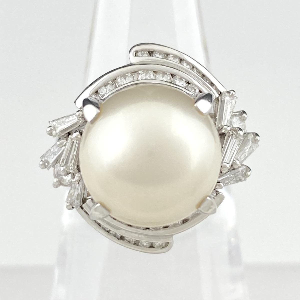 USED 送料無料 パール デザインリング プラチナ 指輪 メレダイヤ 中古 ダイヤモンド 10号 Pt850 全品最安値に挑戦 レディース リング 日本正規品