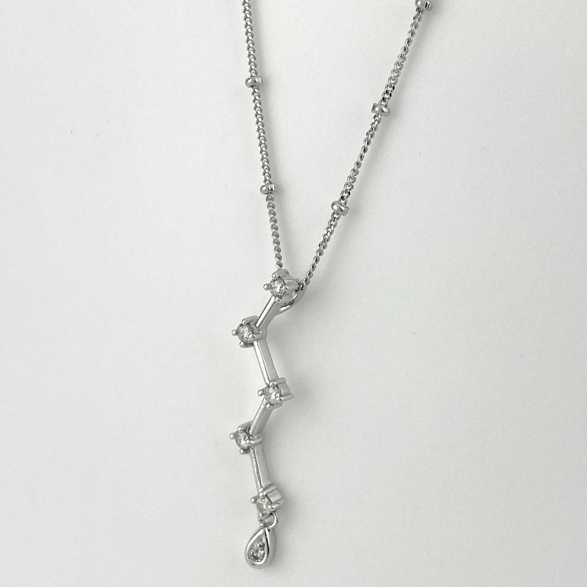 USED 送料無料 メレダイヤ デザインネックレス K18 セール特価 ホワイトゴールド レディース ネックレス ペンダント WG ダイヤモンド 中古 人気上昇中