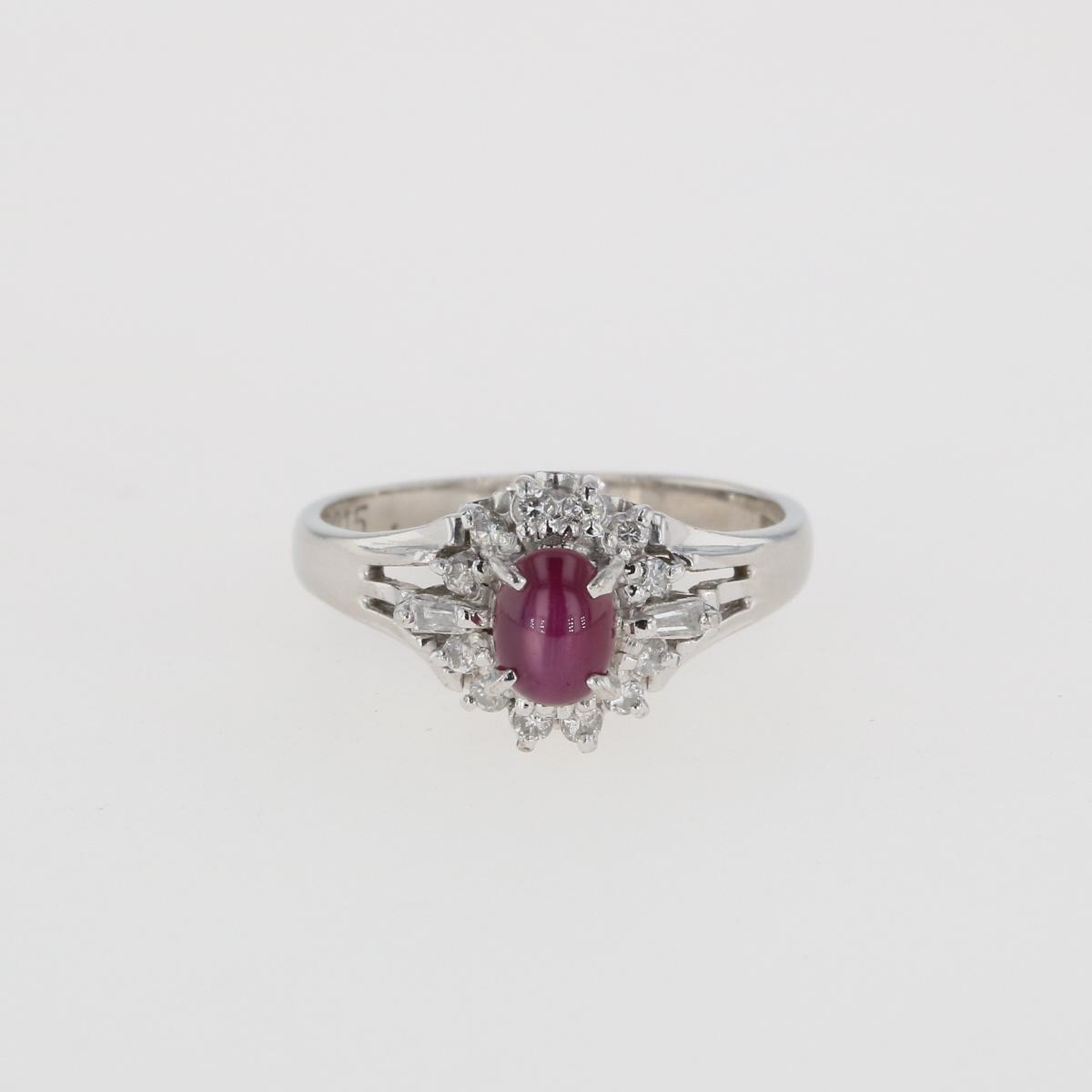 USED 送料無料 スタールビー デザインリング プラチナ 指輪 メレダイヤ !超美品再入荷品質至上! ついに入荷 Pt900 8号 レディース 中古 リング ダイヤモンド