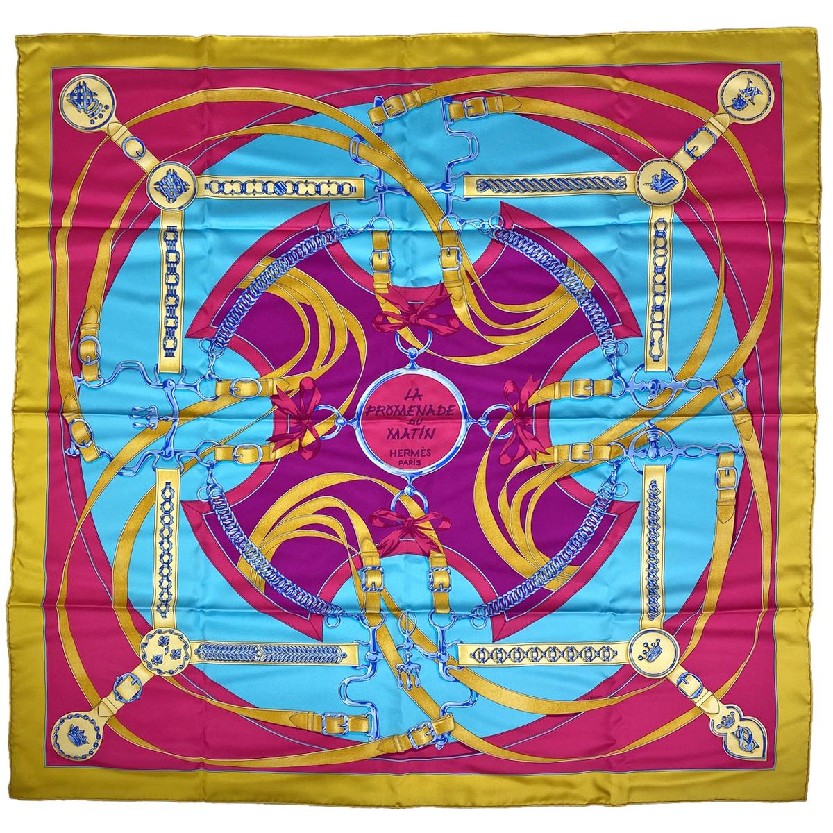 USED 送料無料 エルメス HERMES カレ 90 LA PROMENADE DU MATIN 予約 中古 ブルー レディース ピンク シルク 朝の散歩 イエロー スカーフ ついに入荷
