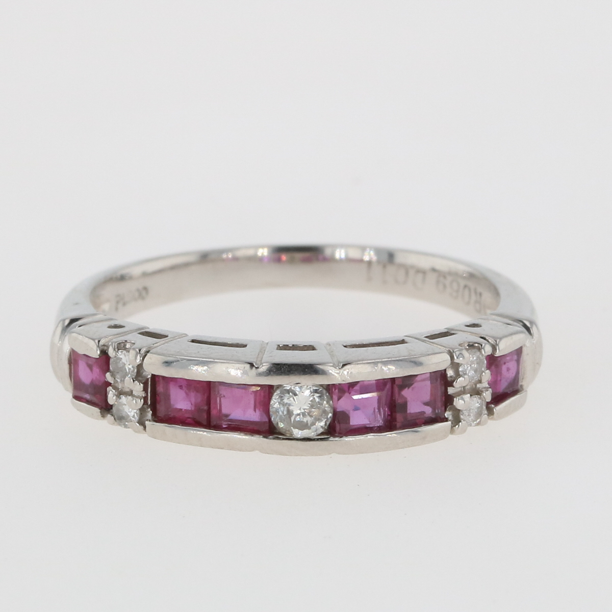 USED 送料無料 ルビー デザインリング プラチナ 指輪 メレダイヤ 12.5号 ダイヤモンド Pt900 お求めやすく価格改定 人気商品 リング レディース 中古