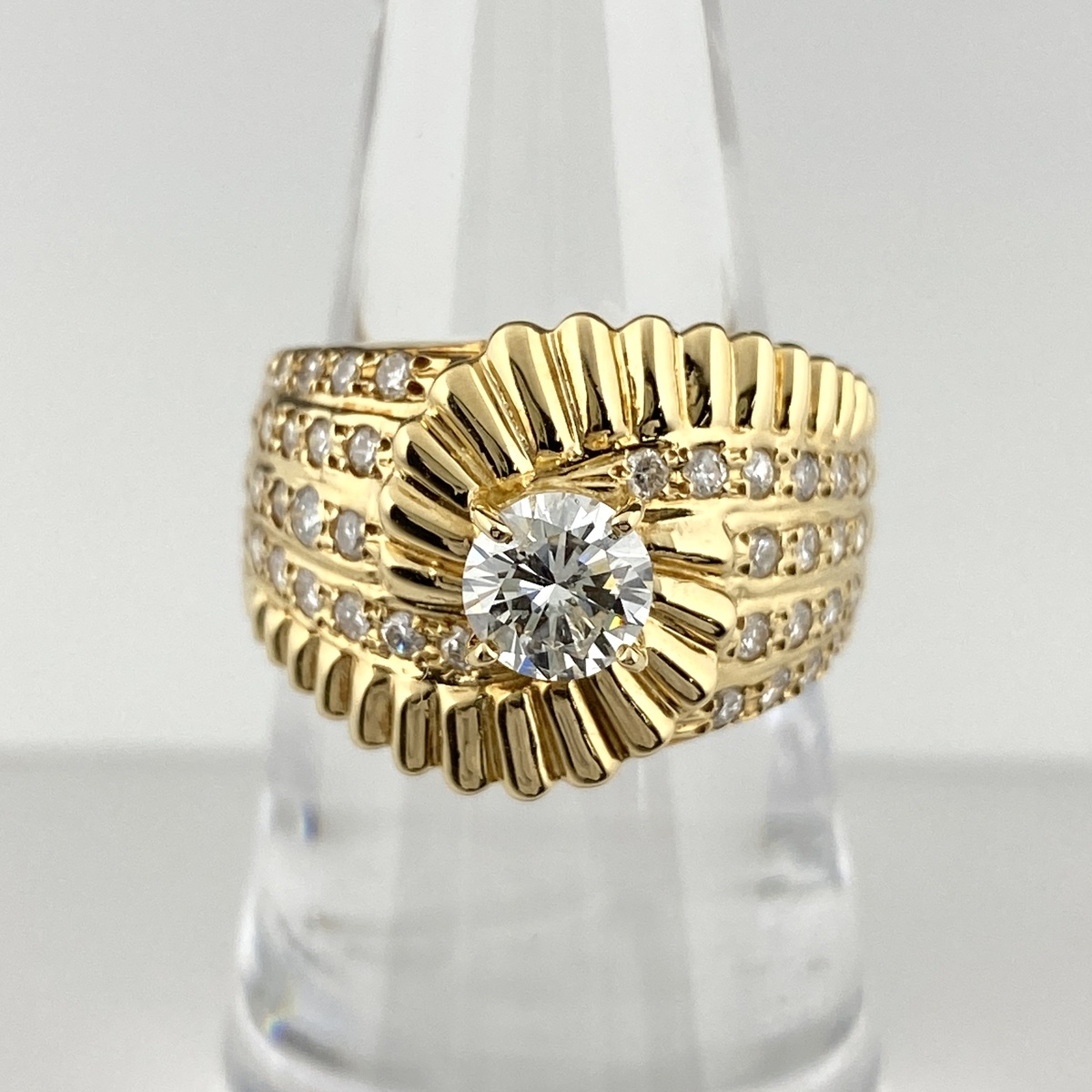USED 送料無料 ダイヤモンド デザインリング K18 イエローゴールド 中古 レディース 指輪 リング 11号 年間定番 本店 YG