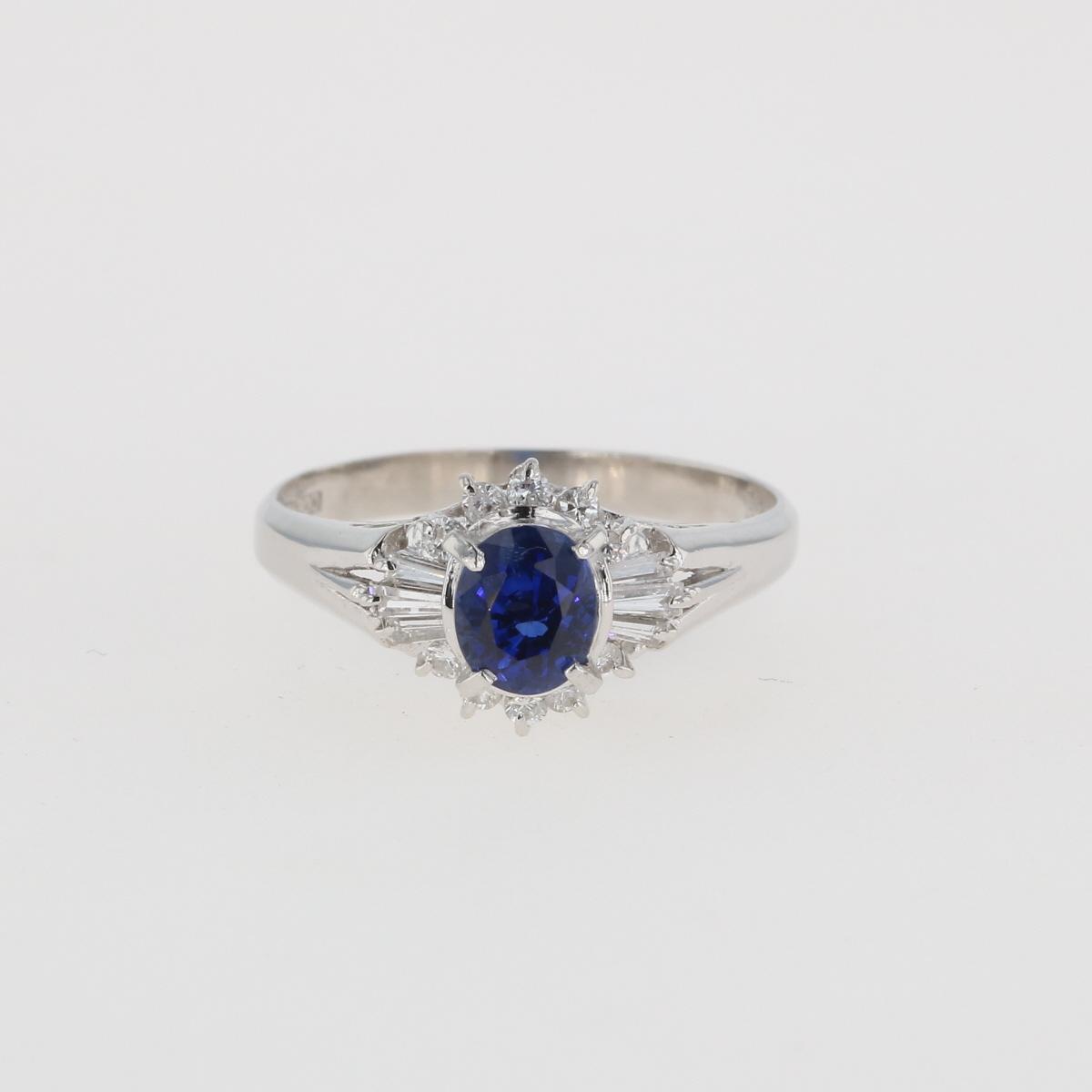 USED 送料無料 サファイア デザインリング プラチナ 指輪 メレダイヤ 年間定番 10号 ダイヤモンド リング 中古 レディース Pt900 セール 登場から人気沸騰