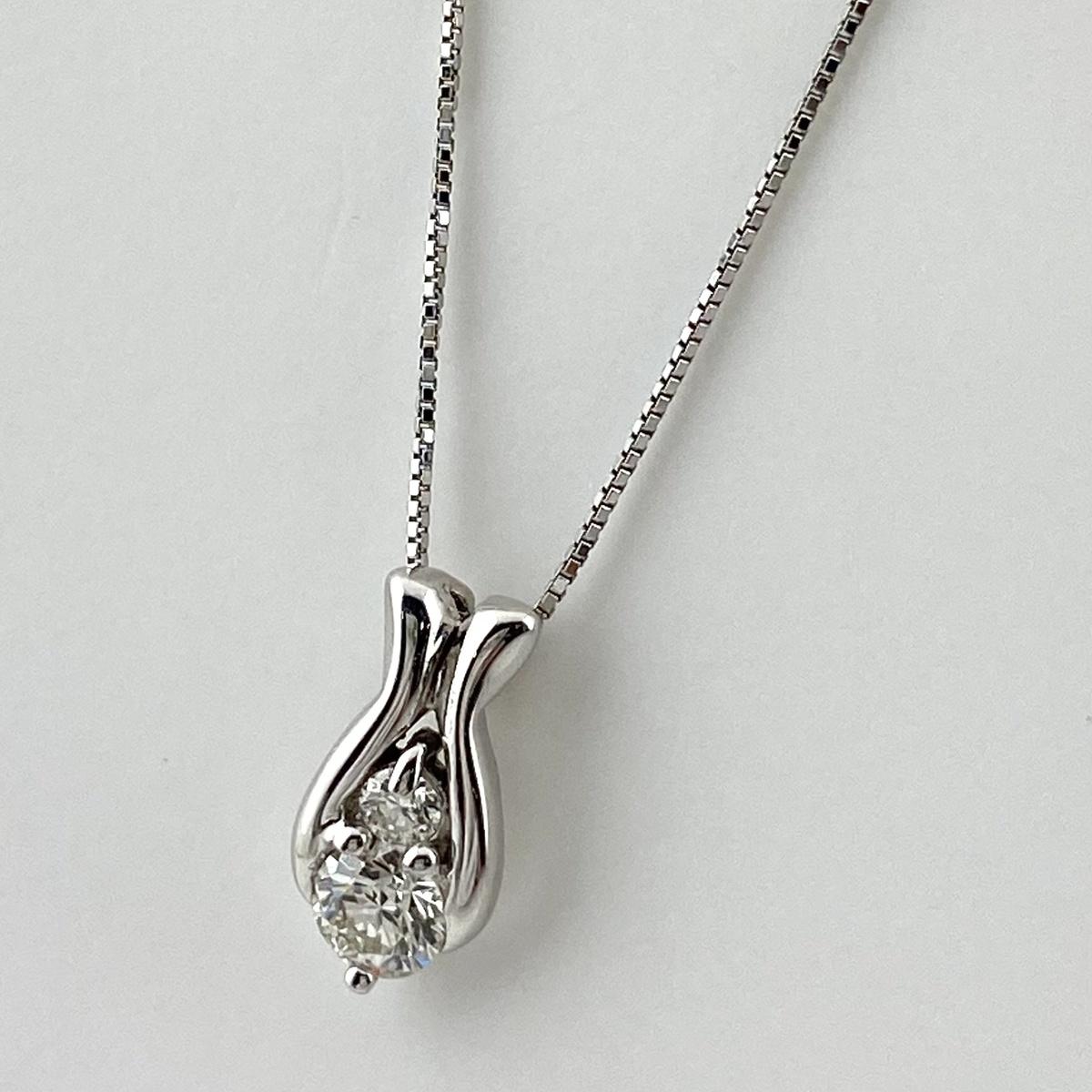 USED 送料無料 メレダイヤ デザインネックレス K18 ホワイトゴールド 中古 WG レディース 定番の人気シリーズPOINT(ポイント)入荷 ネックレス ペンダント お気に入り ダイヤモンド