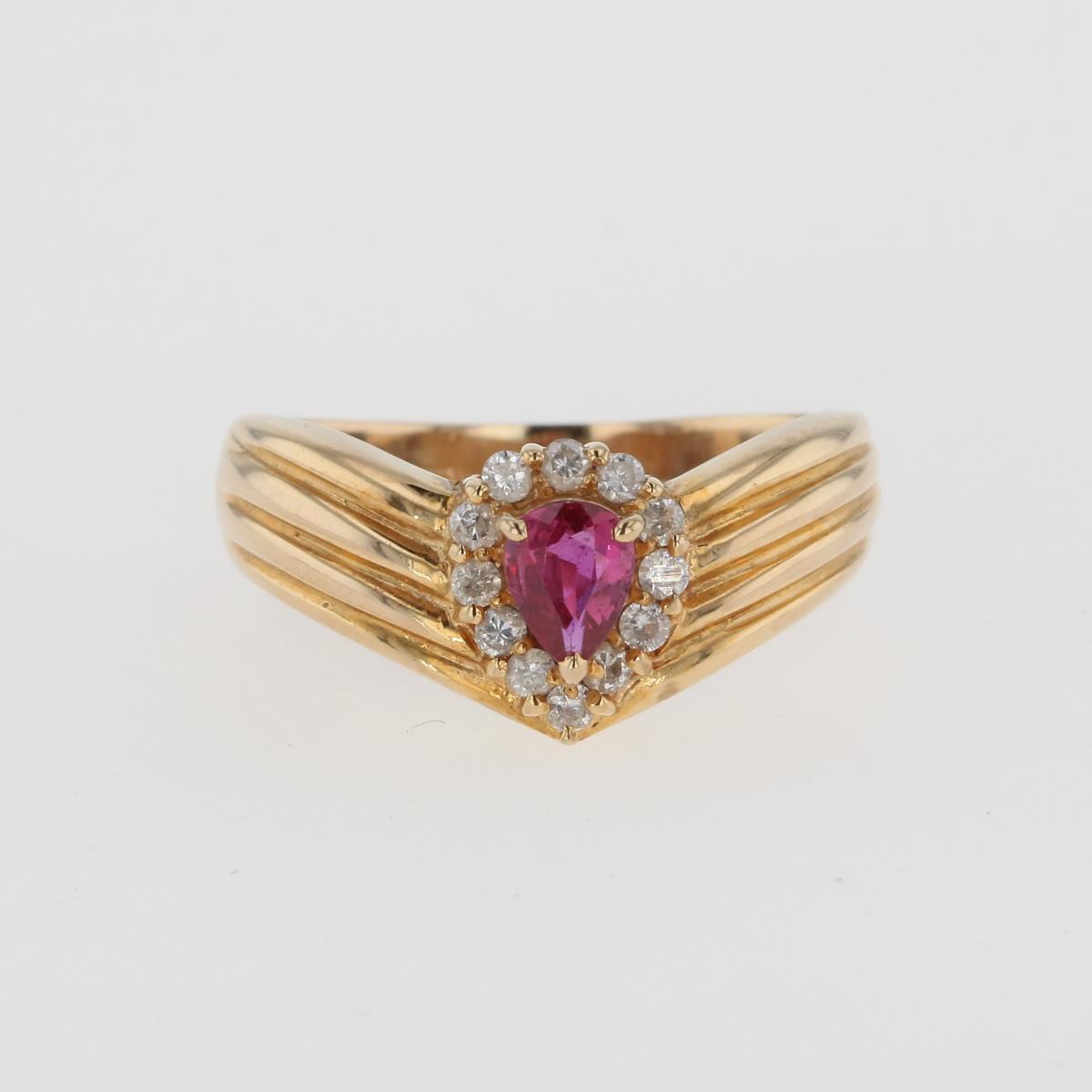驚きの価格が実現 USED 送料無料 ルビー デザインリング K18 イエローゴールド メレダイヤ 即納 YG 指輪 ダイヤモンド 中古 16号 レディース リング
