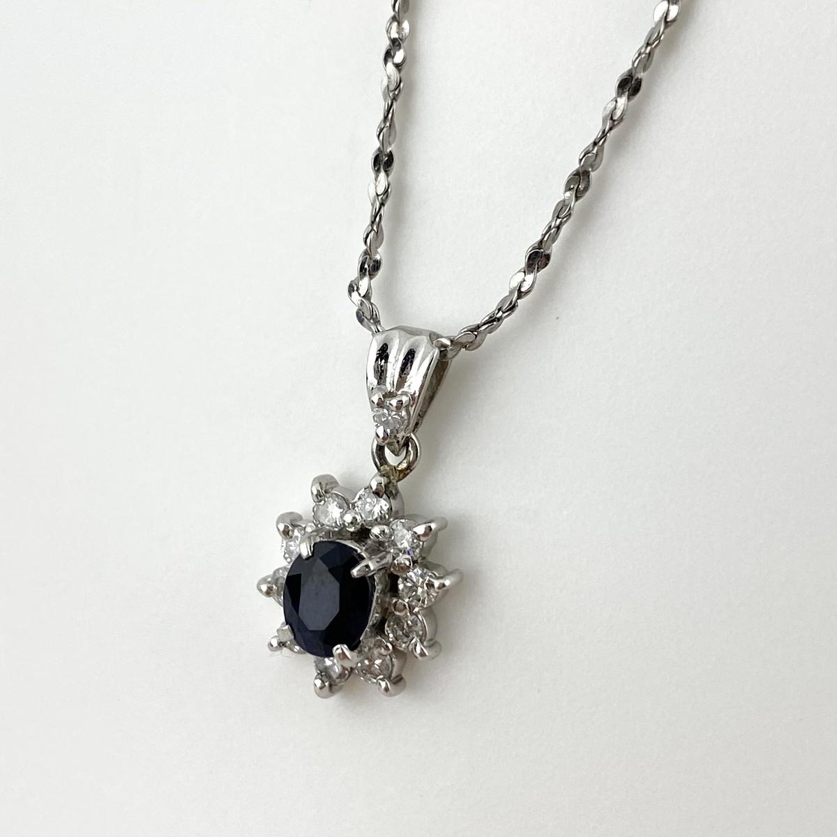 低廉 USED 送料無料 サファイア 新着 デザイン ネックレス プラチナ メレダイヤ レディース ペンダント ダイヤモンド Pt850 中古