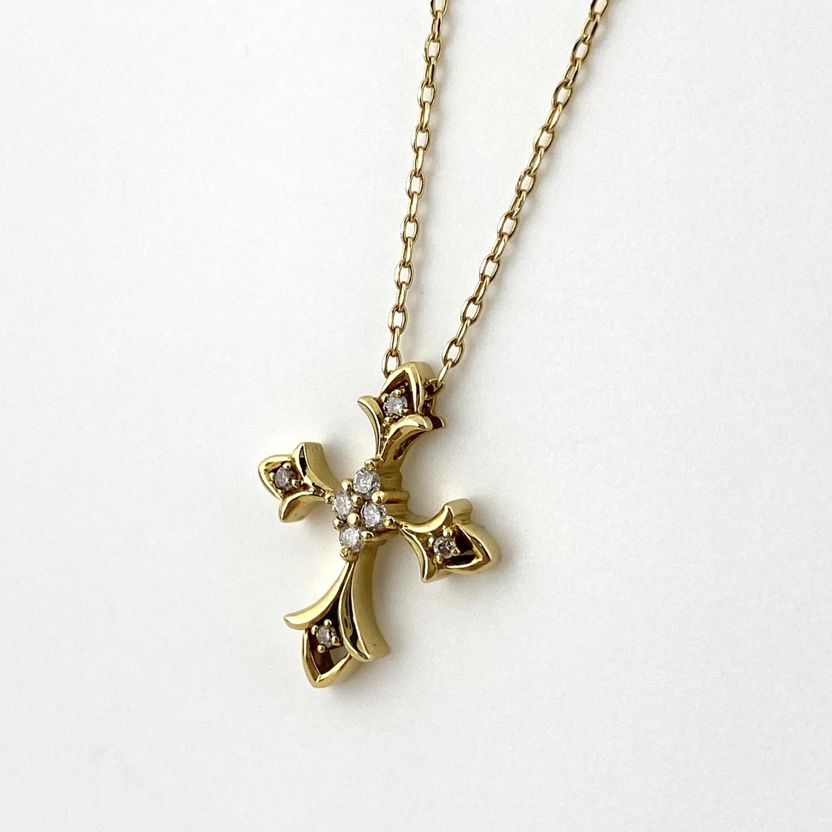 USED 送料無料 メレダイヤ デザインネックレス K18 イエローゴールド レディース 安値 ペンダント ネックレス YG ショップ 中古 ダイヤモンド