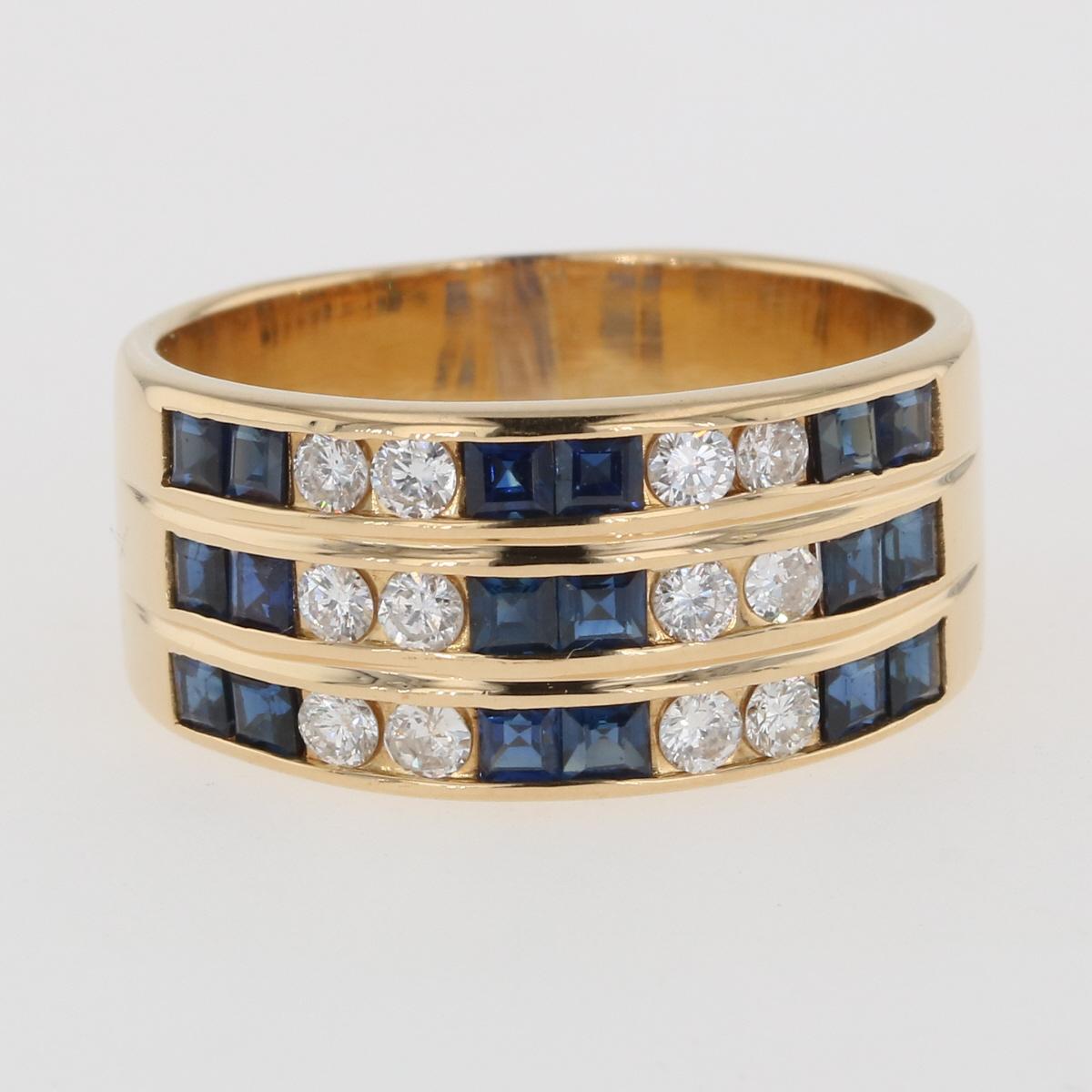 USED 超激安 送料無料 サファイア デザインリング K18 イエローゴールド 指輪 5%OFF 中古 メンズ 22号 リング ダイヤモンド メレダイヤ YG